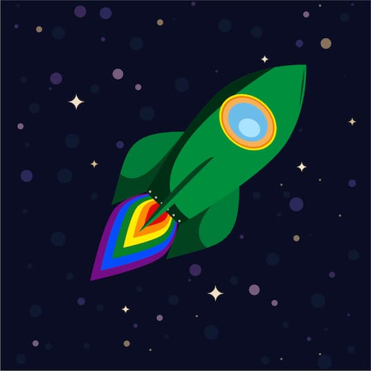 Fairydust.space Logo, a green rocket with a rainbow engine flame floating through space.